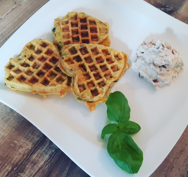 Zucchini waffles with sundried tomato ricotta dip recipe
