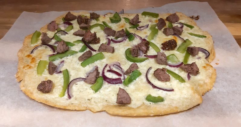 philly cheese steak pizza with alfredo sauce