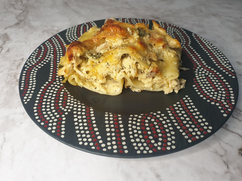 white chicken lasagna with Alfredo sauce