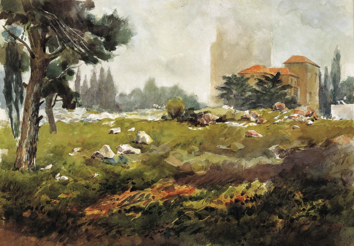 Rain in Talbieh, 48X66 cm