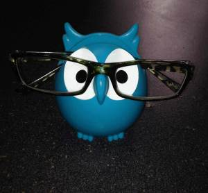 Lola, blue owl with glasses