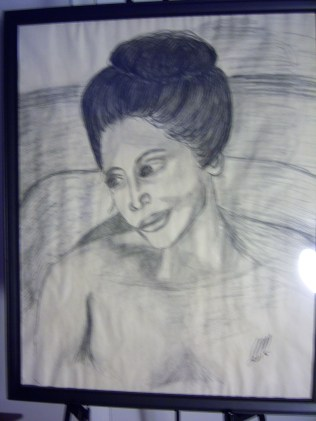 Bathing Woman, charcoal, paper