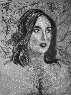 "Justine/ This Island Empress (2019) Glazed black and white string on painted Masonite (48 x 36"")"
