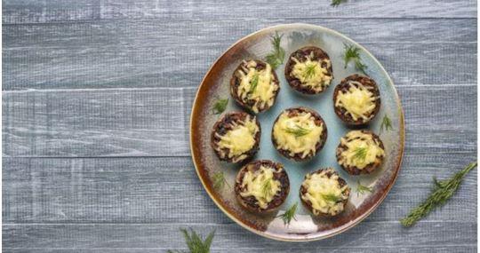 Receta de champiñones rellenos de seitán y aceite de coco - Mares lingua