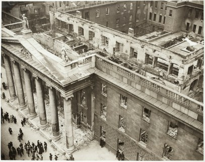 View of the General Post Office from above, showing the destruction to the building interior. Image: National Library of Ireland