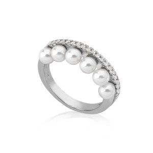 "Anillo Majorica ""Exquisite"" 4mm – Plata de ley – 16048.01.2.915.010.1"