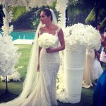 Mareva Georges Marciano in wedding dress in Bora Bora