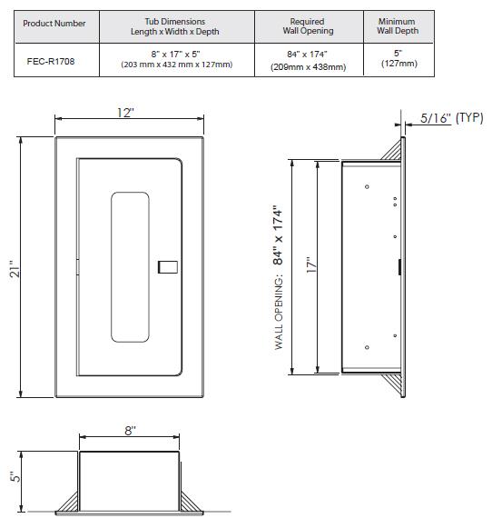 Fec R1708 Recessed Fire Extinguisher Cabinet