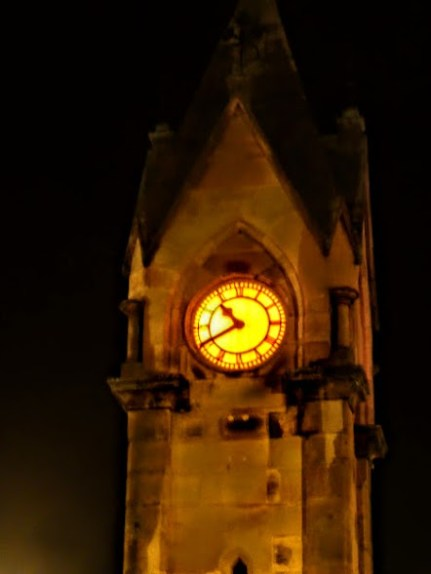 The town clock turns orange for the weekend