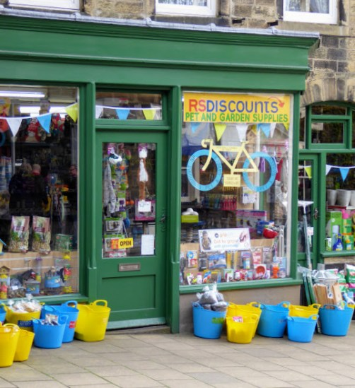 A shop prepares for the Tour de Yorkshire.