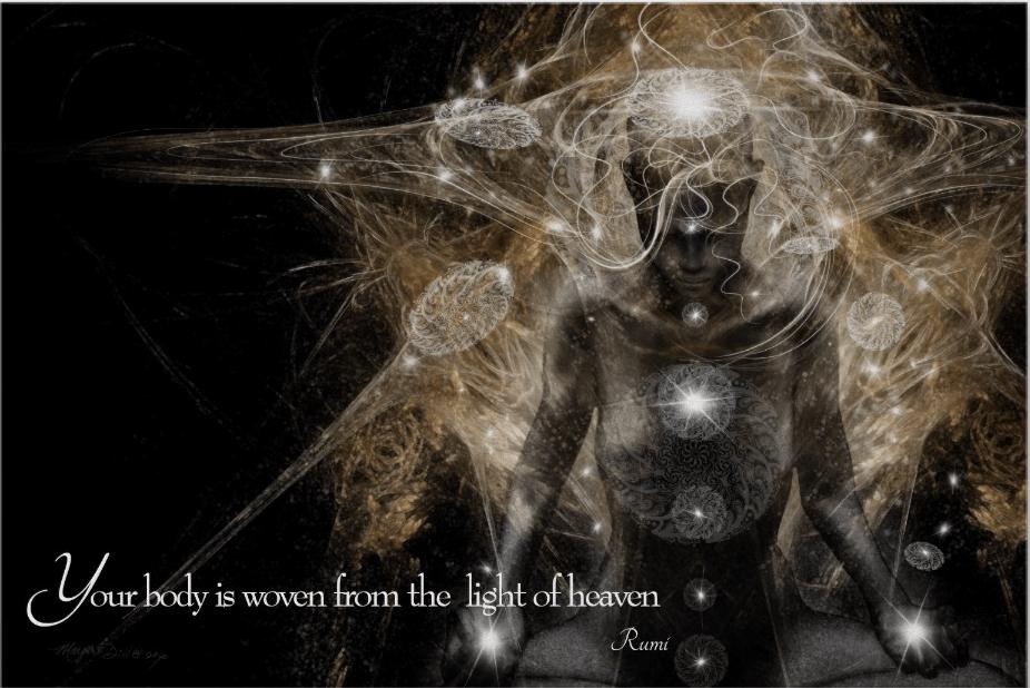 Rumi Quote Spiritual Portrait- Divine Unity by Margaret Dill