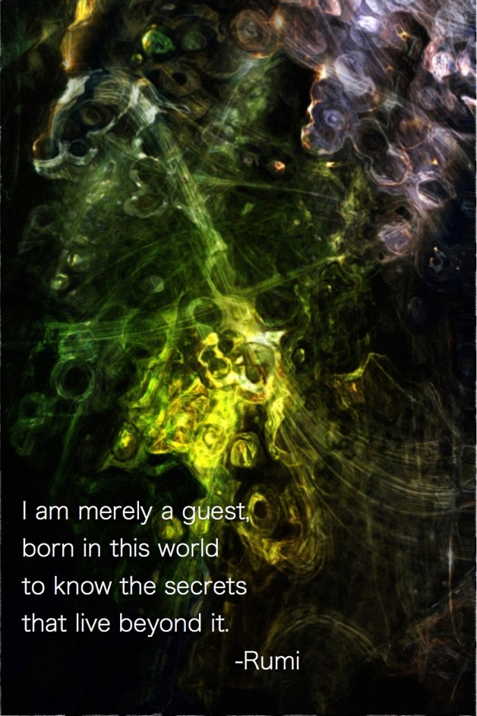 I am merely a guest, born in this world to know the secrets that live beyond it. Rumi - Fractal Art by Margaret Dill #spiritualquotes #wordsofwisdom #Fractalart #AbstractArt #Margaretdill