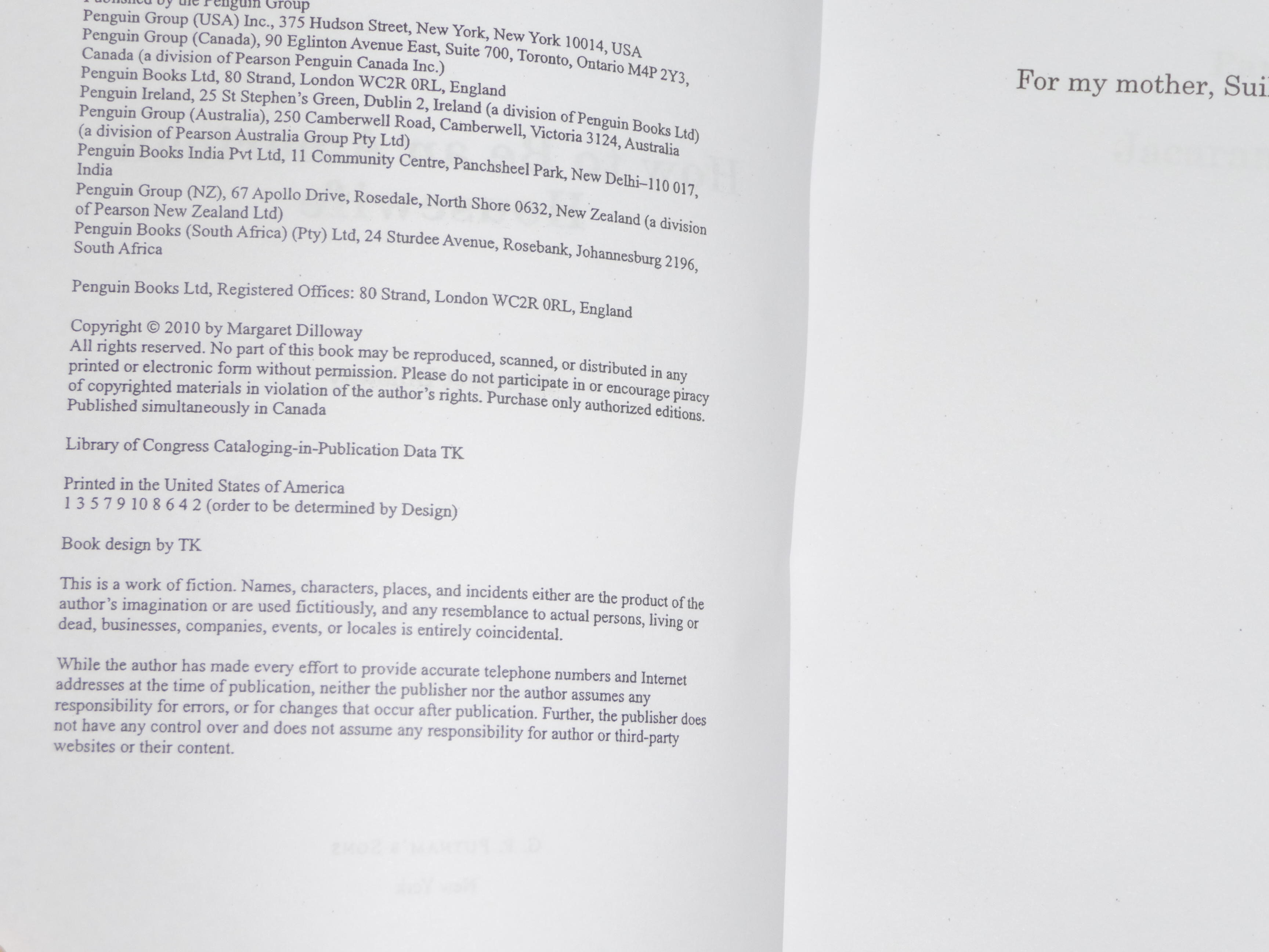 The book with my name and copyright and Putnam's info.