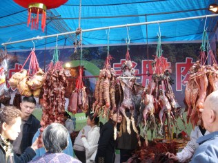 Stall at the Chengdu Market, Sichuan Province, China.