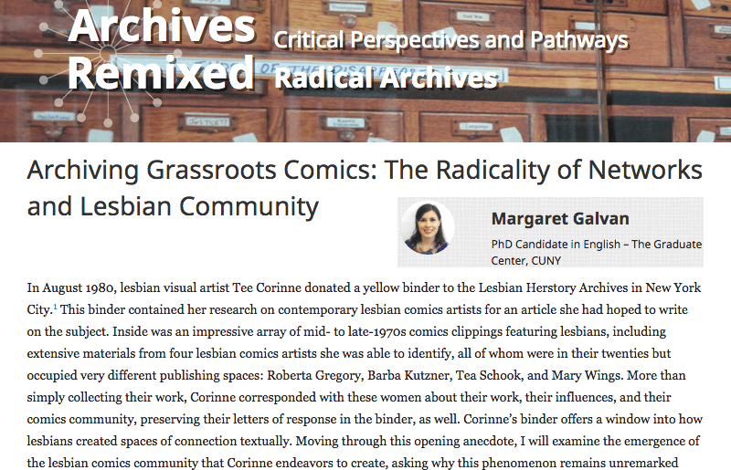 Article: Archiving Grassroots Comics: The Radicality of Networks & Lesbian Community