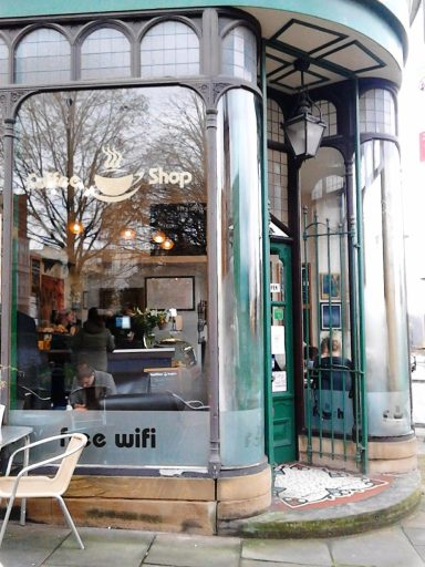 A photo of the art cafe doorway  in Art Nouveau style