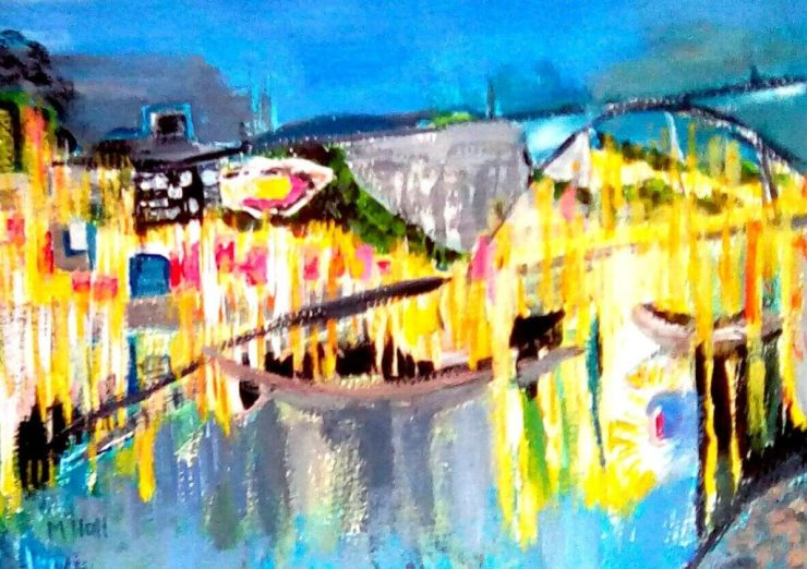 A bright  , glowing acrylic painting of a harbour scene in semi abstracted style - work on display in the cafe