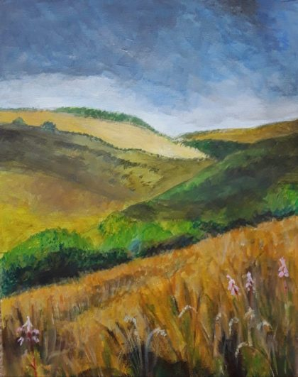 A gentle , rolling summer landscape with a cornfield in the foreground.  In my Gallery  - Landscapes