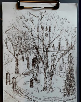 A Sketch in biro of a church in my home town - part of my artistic journey - urban sketching