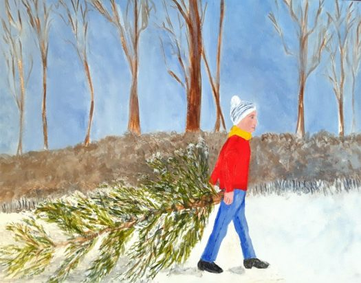 A watercolour painting of a boy dragging home this year's Christmas tree in the forest. A forest landscape.