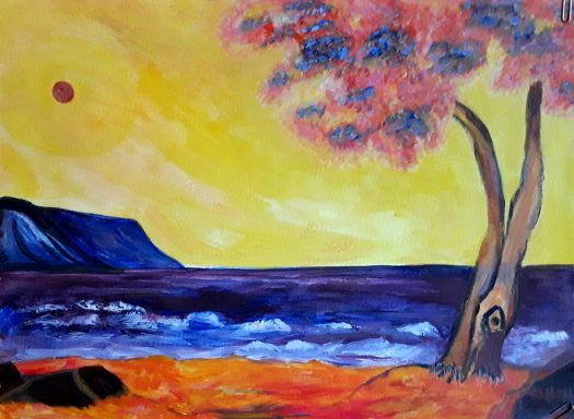 A dramatic seascape from the burnt orange  beach ,  looking out over the purple sea . A tree with pink leaves and a dark red sun in a bright yellow sky .An acrylic painting with colour abstraction