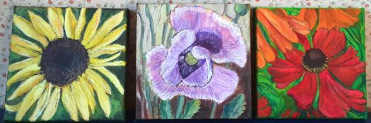 Three small canvases showing three flower paintings  - sunflower,  poppy and echinacea.
