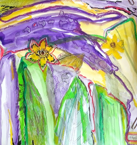 A swirling abstract composition in yellow purple and green , heavily textured in watercolor , acrylic , collaged paper and oil pastel