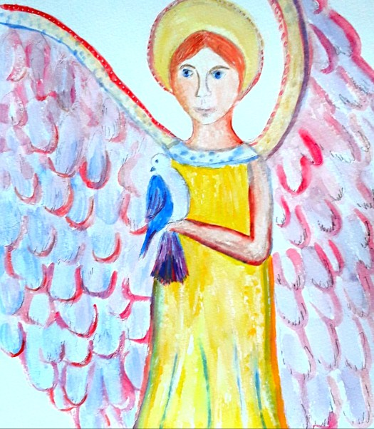 A watercolour sketch  of an angel with golden wings , inspired by the images of mythical creatures in the ceramic collection.