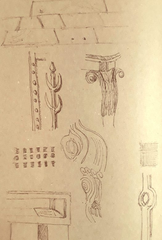 Pencil drawings on  brown  paper.  Patterns observed on objects in Salt's Mill museum