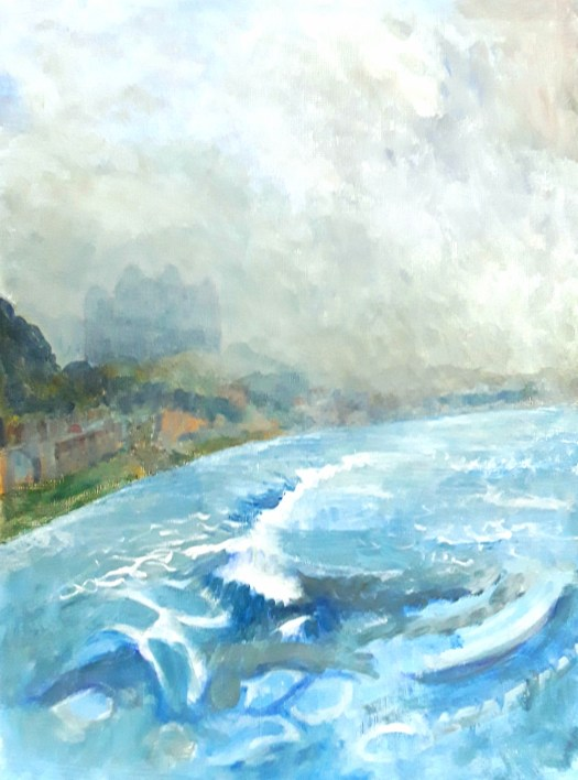 Painting water- a moody, misty acrylic of huge waves crashing into the seawall at Scarbrough.
