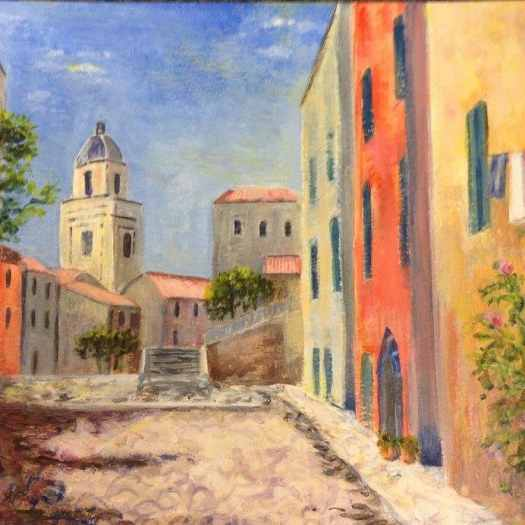 A soft dreamy painting of a street in the south of France on a hot afternoon- featured in the magazine article