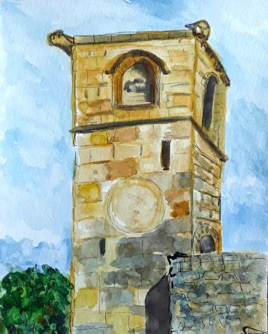 A watercolour sketch of the tower - golden sandstone against a brilliant blue sky.