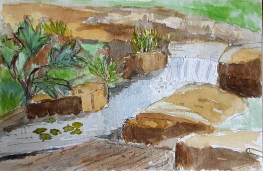 Painting water -  pen and watercolour sketch of water cascading down a little fall in a park.