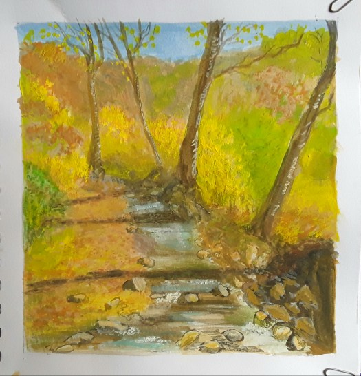 A bright, cheerful gouache painting of a small stream, shaded by trees in a sunlit wood.
