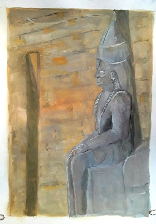 A gouache painting in tones of soft grey and ochre. A dramatically lit wall statue of Pharoah in an Egyptian temple.