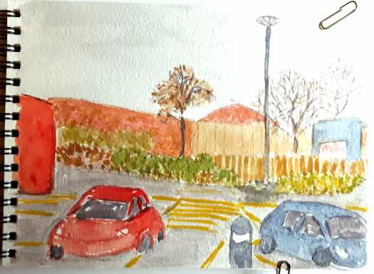 A quick watercolour sketch through the window of my car, parked in the supermarket carpark