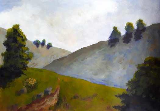 A view of a track winding through Pennine hills , a stark, bleak landscape.