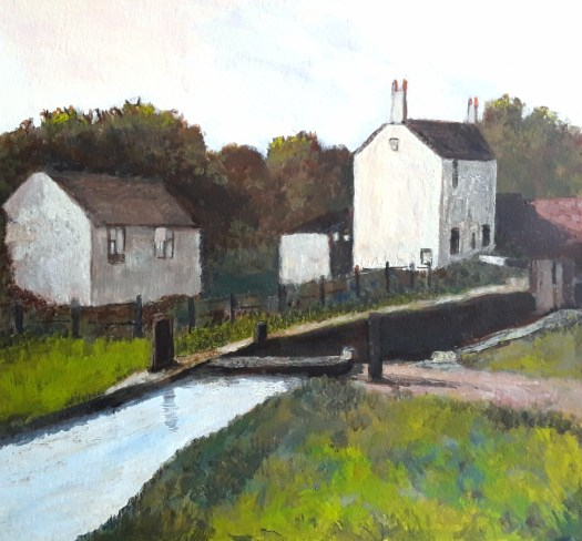 An acrylic painting in muted colours of a canal scene. A lock and a lock keepers cottage.