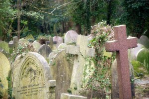 Dense gravestones at Highgate Cemetery