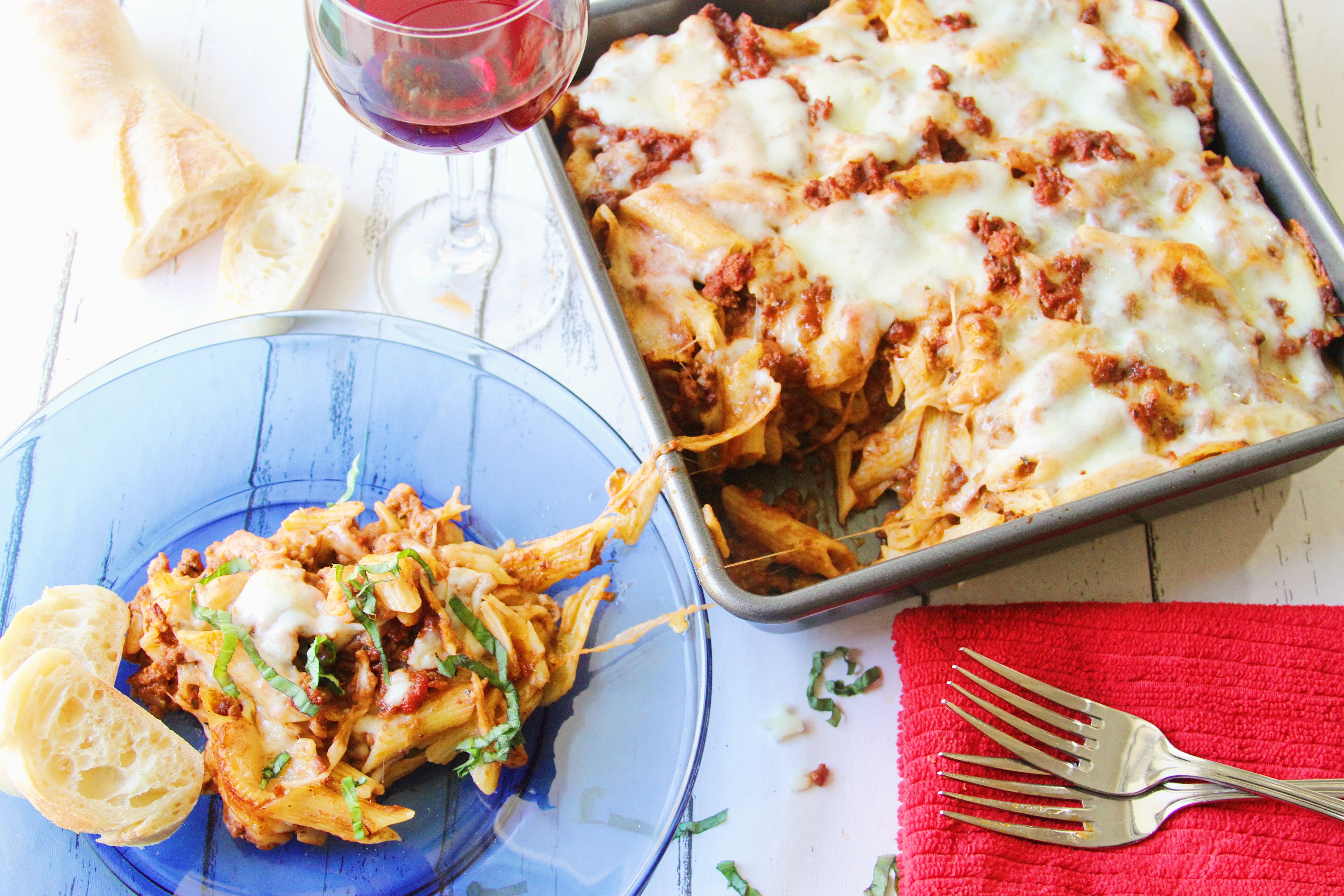 Margaritas On The Rocks Baked Penne W Red Wine Bolognese Sauce