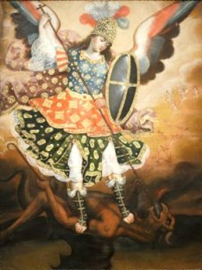 18th_century_oil_on_canvas_titled_Saint_Michael_the_Archangel_from_Cuzco,_Peru