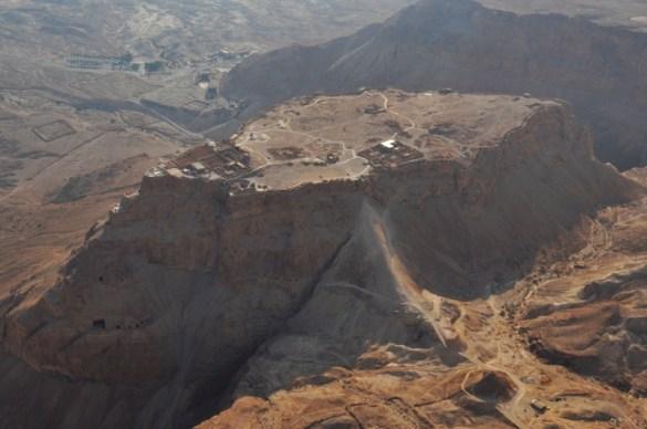 An aerial view of Masada.