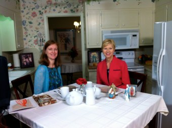 Lisa Mladinich and Donna Marie Cooper O'Boyle on the set of Catholic Mom's Cafe