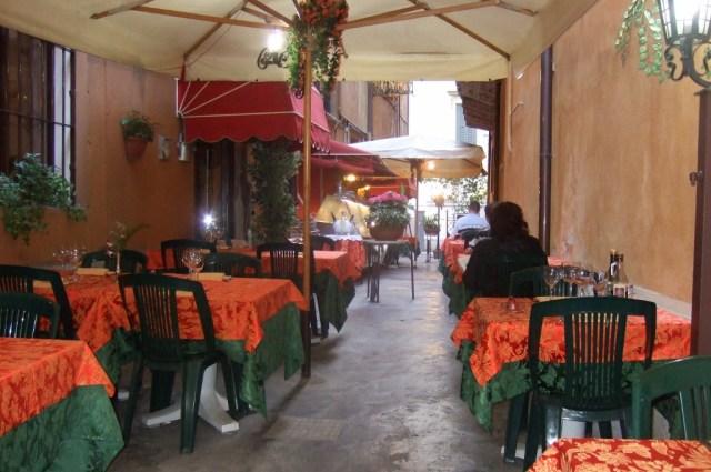 Outdoor restaurant in Italy