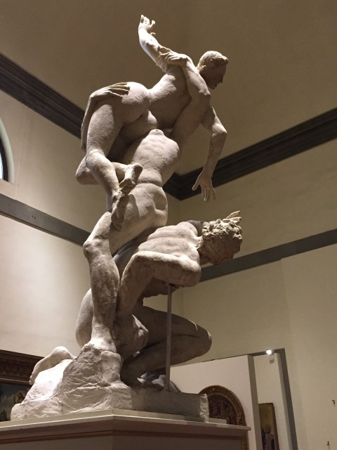 Plaster cast of Rape of the Sabines sculpture in the Accademia -Photo by Margie Miklas