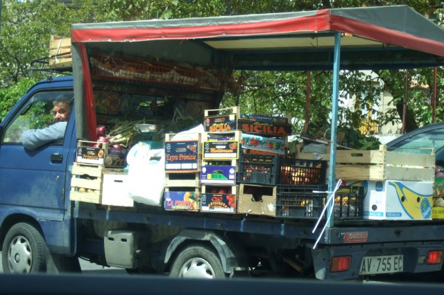 No overheard produce off the back of a truck Photo by Margie Miklas Italy