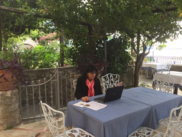 Writing in Positano Photo by Margie Miklas