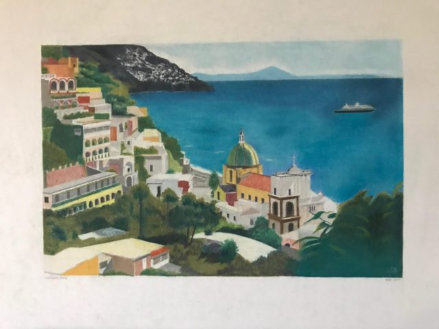 Positano painting by Ralph Patton photo by Margie Miklas