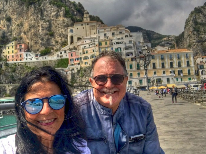 Dream trip to Italy Margie and Richard in Amalfi Photo by Margie Miklas