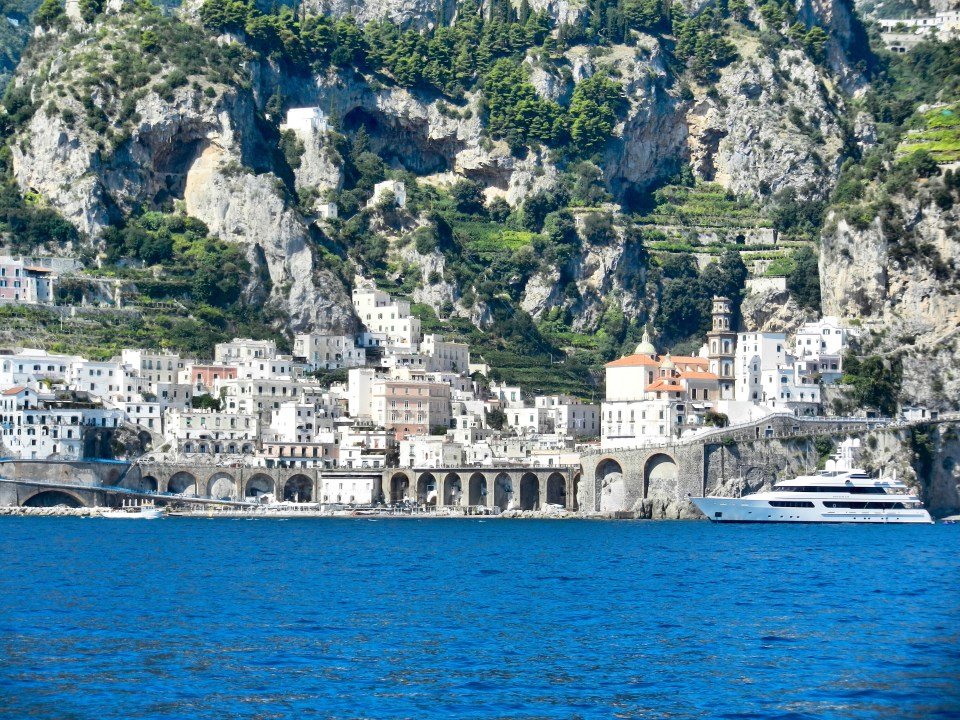Amalfi Coast town from the sea